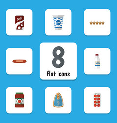 Flat icon meal set of canned chicken fizzy drink vector
