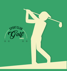 Golf player sport club course vector