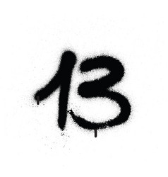 Graffiti sprayed number 13 thirteen in black vector