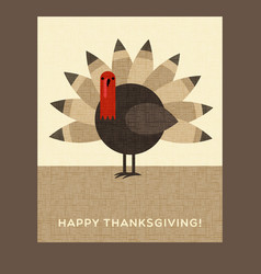happy thanksgiving turkey card vector image vector image
