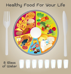 Healthy Food For Life Plate Design vector image