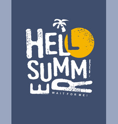 Hello summer typography print design vector
