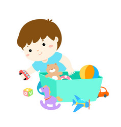 Kid boy storing toys vector