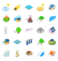 Land icons set isometric style vector