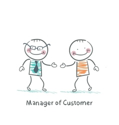 Manager Customer greets with the client vector image vector image