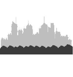 Modern city skyline bushes foliage city vector