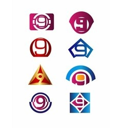 Number 9 logo icon design template elements vector image