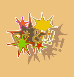 Paper sticker on theme comic speech bubbles set vector
