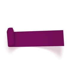 Realistic curved purple textile ribbon vector