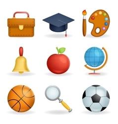 Realistic School icons education symbols set line vector image vector image