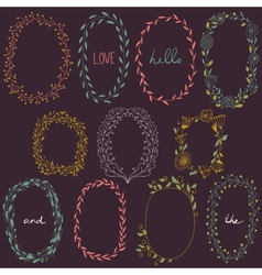Romantic set of circle floral borders vector