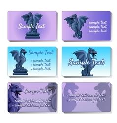 Set of six cards depicting gargoyles vector