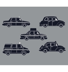 Silhouette set taxi car side view vector