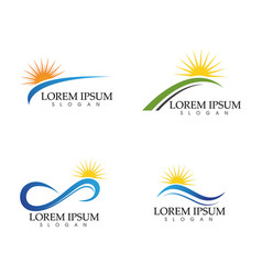 Sun and water wave logo template design vector
