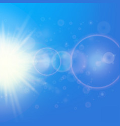 Sun with lens flare template vector