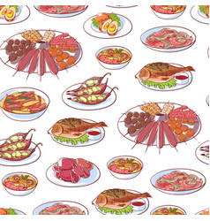 Thai cuisine dishes on white background vector
