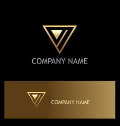 triangle gold line company logo vector image