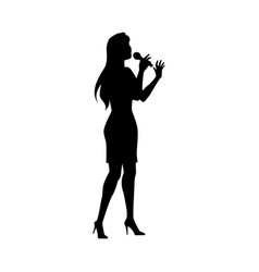 Woman singing silhouette set vector