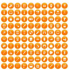100 portable icons set orange vector