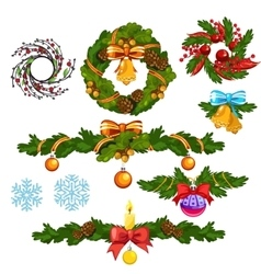 Christmas wreath and other decorations for holiday vector image