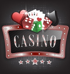 Casino with ornate frame card symbols playing vector image