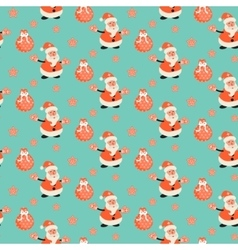 Happy santa claus green mint festive pattern vector