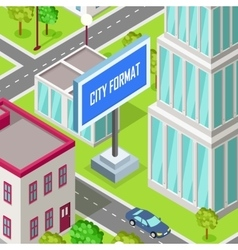 City format car driving at the road of urban town vector