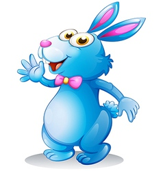 A blue bunny waving vector