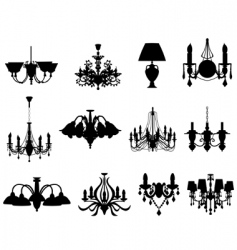 Set of lamps silhouettes vector