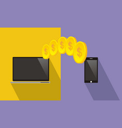 Transfer money between a laptop and a smartphone vector