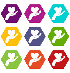 Hand holding heart icon set color hexahedron vector