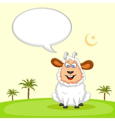 Sheep wishing eid mubarak vector