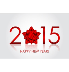2015 Happy New Year background with red bow vector image