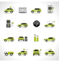 Electric car icons vector