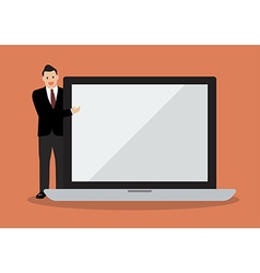 Businessman pointing to the screen of a laptop vector image