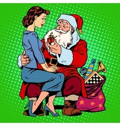 Christmas gift santa claus and a beautiful girl vector