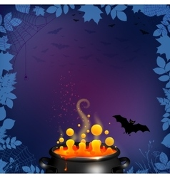 Halloween party flyer background in dark purple vector