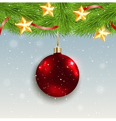 Christmas background with shining red decoration vector