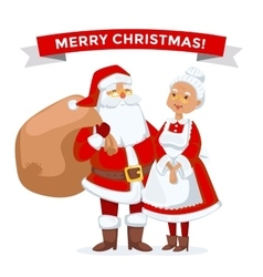Santa and Missis Claus cartoot family vector image