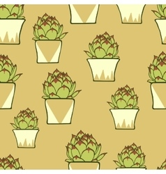 Seamless pattern with hand drawn green cactus vector