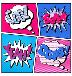 Set of Comic Bubbles in Pop Art Style vector image