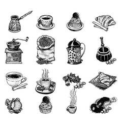 Vintage coffee set vector