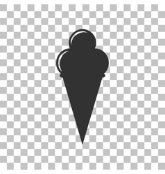 Ice cream sign dark gray icon on transparent vector