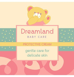 Background with a label for baby cosmetic vector