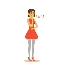 beautiful young woman in red dress laughing vector image