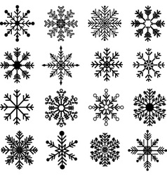 Black Snowflakes Silhouette set vector image vector image