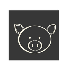 Black square picture of pig animal vector