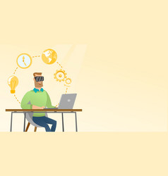 Businessman in vr headset working on a computer vector