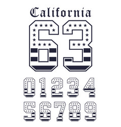 california set number flag usa black white vector image