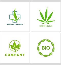Cannabis leaf logo icon collection vector